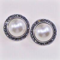 Vtg Sterling Silver Handmade Earrings, 925 Round Studs W/ Marcasite N Pearl