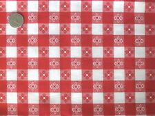 RED CAFE CHECK GINGHAM WESTERN COUNTRY ITALIAN SEW CRAFT DECOR FABRIC HALF YDS