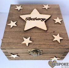 Personalised Wooden Box Memories Keepsakes Stars Star Name Galaxy Christmas Gift