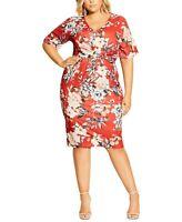 City Chic Women's 16w Plus Size Floral-Print Twist-Front Sheath Dress, Red, NwT