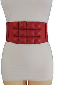Women Belt Fashion Hip High Waist Red Elastic Corset Square Geometric Band S M