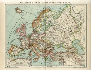 1912 EUROPE POLITICAL MAP GERMANY FRANCE RUSSIA TURKEY POLAND Antique Map dated