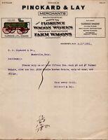 Vtg 1911 Florence Wagon Works Farm Wagons, Alabama AL Letterhead Receipt Letter