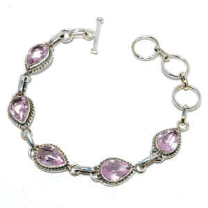 "Rose Quartz Gemstone 925 Sterling Silver Handmade Tennis Bracelet 7.99"" S1993"