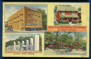 Cedar Park Apartments Cottages Hot Springs Arkansas ar 1942 linen postcard