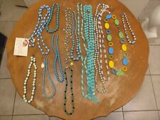 Vintage Costume Jewelry turquois tone Blue Bead Necklaces 15pc array unmarked