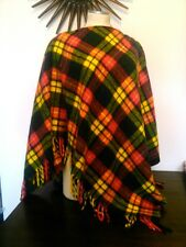 Vtg Wool Plaid Poncho Zipper Neck Bright Neon Colors Unique Ylw Navy Grn Red