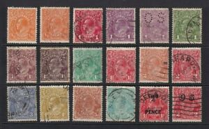 Australia Stamps KGV Head,s  x 17 Used + 1 M/M 1913 .