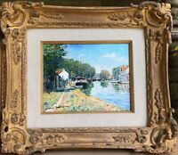 """French  """"Moret-sur-Loing River Scene"""" by Yetuart Kaprielian.  Listed artist Look"""