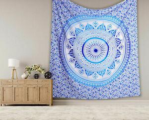Big Blue Mandala Tapestry Ombre Wall Hanging Hippie Dorm Bedspread