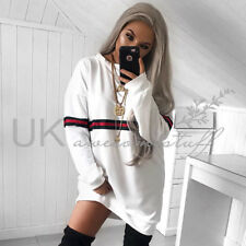 2018 Womens Striped Jumper Dress Ladies Long Sleeve Pullover Sweater Size 6 - 14 White M