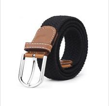 Men's Stretch Braided Elastic Woven Canvas Buckle Belt Waistband Waist