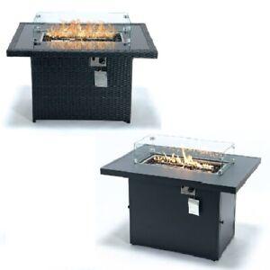 Black Fire Table Wicker / Aluminum 55,000 BTU Propane Burner + Crystal Stones