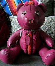"""NWT w/flaw Fuchsia Hot Pink Leather COACH Large 15"""" ROCKY Teddy Bear #56845 $550"""