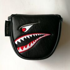 1pc Black with Shark Embroidery Magnet Golf Mallet Putter Head Cover For Odyssey