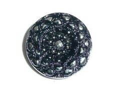 Czech Glass Mandala Opaque Black w/ Silver Accents Box Clasp Shank Button 18mm