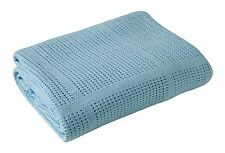Clair de Lune Cot Bed/ Cot Extra Soft Cotton Cellular Blanket - Blue