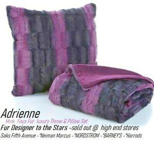 Designer Adrienne Black & Purple Chinchilla Mink Faux Fur luxury Throw & Pillow