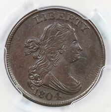 1804 C-6 R-2 PCGS AU 53 Spiked Chain Draped Bust Half Cent Coin 1/2c
