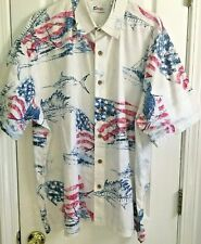 MENS WORLD WIDE SPORTSMAN Hawaiian Fishing Shirt Swordfish American Flag XXL