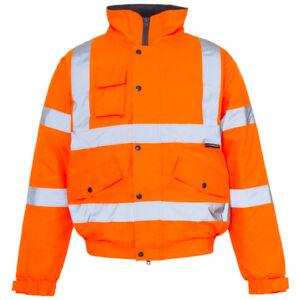 Premium Hi Vis Visbility Viz Bomber Jacket Waterproof Safety Work Coat (Den/Ham)