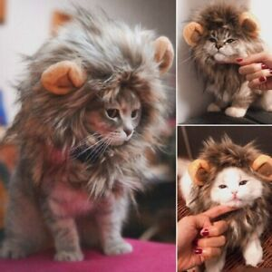 Pet Cat Funny Costume Dog Puppy Cute Cosplay Dress Halloween Lion Mane Wig Hat