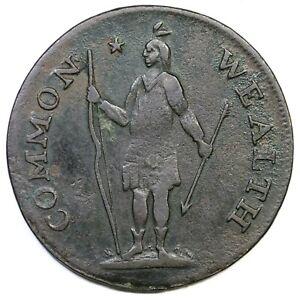 177 2b-E R-5 Massachusetts Penny Colonial Copper Coin