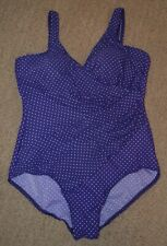 Miraclesuit Sz 18 Purple White Polka Dot Shirred Swimsuit 1 Pc Made in USA