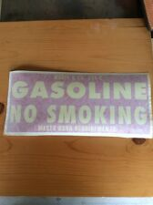 "VINTAGE Gasoline No Smoking Safety Decal Sticker 5""X11.5"" OSHA APPROVED"