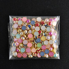 200PCS 3D 4m Acrylic Decor Nail Art Charms Bling Rhinestone Pearl Tips DIY