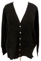 Lane Bryant Cardigan Sweater Womens Plus Size Black Ribbed V Neck Honeycomb