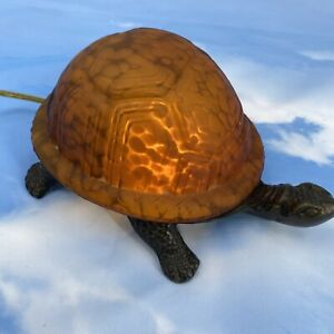 Vintage Turtle Lamp Brass Amber Glass Frosted Shell Tested and Works!
