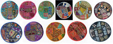 "SET OF 11 INDIAN HANDMADE ROUND 16X16"" ZARI WORK CUSHION COVER ETHNIC DECOR ART"
