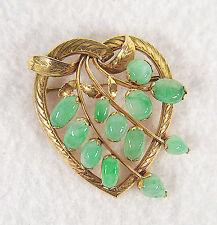 Vintage 14K  Gold Natural Jadeite Jade Heart Brooch Pin
