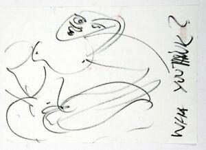 Luciano Castelli - What you think? - Zeichnung in schwarzem Filzstift