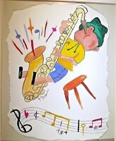 Jazz Saxophone Player Original Watercolor 9 x 7 Inches 2007 Unframed