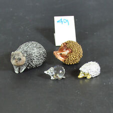 New ListingGroup of four Hedgehog Figurines Metal, Crystal and Resin