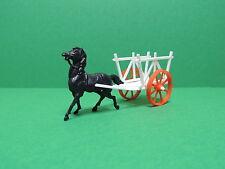 BONUX : cheval charette blanc Figurine ferme jouet Publicitaire Prime ancien