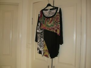 Ladies Top Plus Size S Design TS  Colour Black with Diff Colours  3/4 Sleeves.
