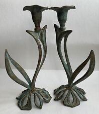 More details for vintage / antique - brass art nouveau french candle sticks - fantastic