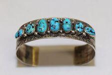 Vintage - Navajo Harold Becenti - Sterling Silver Turquoise Cuff Bracelet