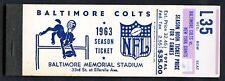 Baltimore Colts 1963 Complete Unused Season Ticket Book