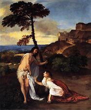 "Wonderful Oil painting Tiziano Vecellio - Noli me tangere Christ & Followers 36"""