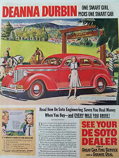 1938 Red DeSoto Car Mad About Music Movie Star Color Original Ad