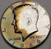 1966 KENNEDY SILVER HALF DOLLAR BU UNC COLOR TONED BEAUTY!   #66