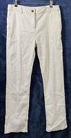 M&S Per Una White Straight Chino Trousers Linen Cotton Blend Stretch Casual (12)