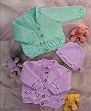 "Premature Baby Knitting Pattern DK Cardigans & Hat 12-24"" chest"