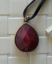 NWT Fossil Brand Red Faceted Stone Tear Drop Pendant Necklace