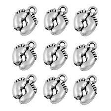 20 x Tibetan Silver Baby Feet Pendant Charms Foot