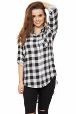 Cotton Checked Long Sleeve T-Shirts for Women